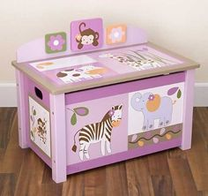 Cute Toy Chests for girl...matching with the animal bed setting