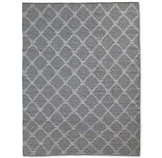 RH's Perennials® Heathered Diamond Outdoor Rug - Iron:Loomed from Perennials® acrylic, the finest all-weather fibers, our rug has the character and texture of a traditional flatweave along with exceptional durability, easy care and resistance to fading, mold and mildew. Classic kilims inspired the softly defined diamond pattern, enhanced by marled yarns that echo the rich look of wool. The choice of professional designers, the premium yarns feel luxurious under bare feet...