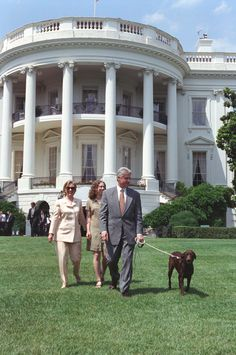 Photograph of President William Jefferson Clinton, First Lady Hillary Rodham Clinton, Chelsea Clinton, and Buddy the Dog Walking on the South Lawn: Bill And Hillary Clinton, Hillary Rodham Clinton, Chelsea Clinton, All Presidents, American Presidents, Dog Walking, Dogs, Lawn, William Jefferson