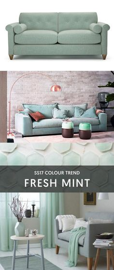 Interior Inspiration - Fresh Mint | Mouthwatering mint is soft and subtle with a hint of freshness. Choose furniture in shades of mint, aqua and seafoam for a lounge that's elegant and uplifting... #theloungeco #chair #sofa #colourtrend #mint #freshmint #aqua #seafoam #duckegg #lounge #SS17trend #interiorinspiration #interiorinspo