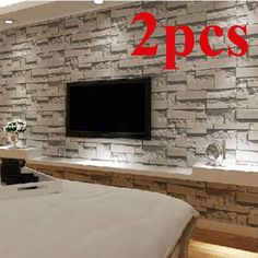 2X Brick Effect Wallpaper Bedroom Mural Roll Modern Luxury Stone Wall Background