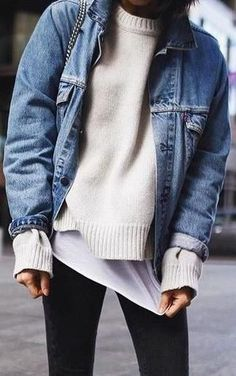 layers. denim jacket. street style.  Sweater Weather | #MichaelLouis - www.MichaelLouis.com (Womens Top Fashion)
