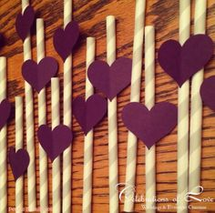 Grey & Purple Wedding Straws!  www.pearlsandpastrieskc.blogspot.com