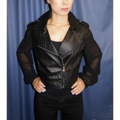 e2fc563270a65 How to wear leather jacket with sheer sleeves - Wear this chic leather  jacket with sheer sleeves with blue denim skinny jeans or switch it up with  coloured ...