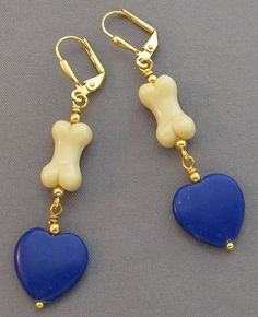 Dog Bone Earrings Blue Lapis Hearts on Gold  at For Love of a Dog