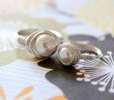 Mother and Daughter Sterling Silver Fresh Water Pearl Ring Set of Two. $40.00, via Etsy.