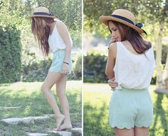 Mint Green Shorts, Thrifted White Tank Top, Thrifted Straw Hat With A Big Bow - This Summer - Bethany Struble Lady Like, Short Outfits, Summer Outfits, Cute Outfits, Summer Shorts, Summer Clothes, Elie Saab, Vera Wang, Ysl