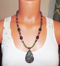 Gemstone Beaded Necklace Green and Raspberry by FunNFunkyJewelry on Etsy