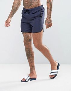 7527c60f89 ASOS Runner Swim Shorts In Navy Mid Length Men's Swimsuits, Men's Swimwear,  Gq Mens