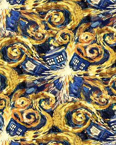 "In the timey-wimey world of Doctor Who,  van Gogh's last work depicts an exploding Tardis. Quilting-cotton fabric of 'The Pandorica Opens'  Each Tardis is about 4""- from the 'Doctor Who' collection by BBC  for Springs, via equilter. More crafty geek pins at https://www.pinterest.com/yrauntruth/knit-crochet-mom-can-make-one/ and https://www.pinterest.com/yrauntruth/craft-sew-mom-can-make-one/"