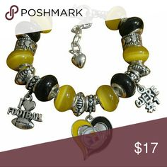 Pittsburgh Steelers Charm Bracelet Pittsburgh Steelers Bracelet, Pittsburgh Steelers Jewelry, Football Bracelet, NFL Bracelet   WHO LOVES FOOTBALL?! Show your Pride for the Pittsburgh Steelers with this steelers bead charm bracelet. This listing is for one Pittsburgh Steelers charm bracelet. 6 inches in length with an additional 2 inch extension. Absolutely adorable, you'll be in a hurry to show it off to your friends and family!  Perfect for Steelers Football Fans!! Jewelry Bracelets