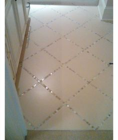 Glass Tiles Instead Of Grout In The Bathroom Tile Floor | DIY Home Decor Ideas on a Budget | Click for Tutorial | DIY Home Decorating on a Budget
