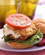 """""""Fried"""" Fish Sandwich - the fish is actually baked with breadcrumbs! 8 points!"""