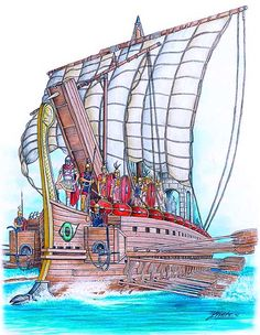 A Roman war galley during the Punic Wars, equipped with the 'corvus' boarding plank. Artwork by © Angel Garcia Pinto. Ancient Greek Art, Ancient Rome, Ancient History, Carthage, Punic Wars, Roman Warriors, Roman Republic, Classical Antiquity, Roman History