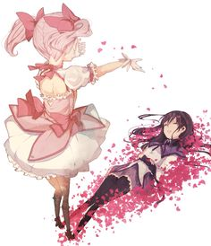 Madoka and Homura from Madoka Magica.