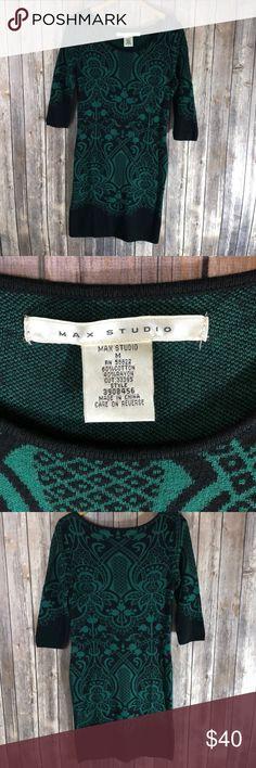 7153f815cfc Beautiful Green   Black Print Sweater Dress