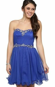 Strapless Short Prom Dress with Vintage Beading