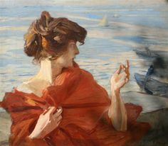 Ettore Tito, Fanciulla sul molo di Venezia
