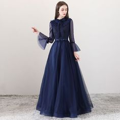 Modern / Fashion Navy Blue Evening Dresses 2018 A-Line / Princess Square Neckli. Modern / Fashion Navy Blue Evening Dresses 2018 A-Line / Princess Square Neckline Long Sleeve Bow Sash Floor-Length / Long Ruffle Backless Formal Dresses Modest Dresses, Simple Dresses, Elegant Dresses, Beautiful Dresses, Formal Dresses, Bow Dresses, Wedding Dresses, Hijab Dress Party, Dress Brokat