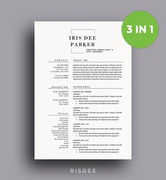 SALE Resume Template With Photo / CV by ResumeTemplateRISDEE