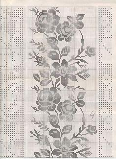 Бордюры из роз для вышивки крестом
