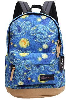 Iblue Canvas School Print Backpack Laptop Bag Travel Daypack
