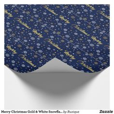 Shop Merry Christmas Gold & White Snowflakes Elegant Wrapping Paper created by Ruxique. Gold Wrapping Paper, Custom Wrapping Paper, Gift Wrapping, White Snowflake, Snowflakes, Gold Christmas, Merry Christmas, Holidays, Elegant