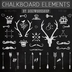 Chalkboard Clipart, Clip art - Chalkboard Elements with crown clipart, arrows clipart, mustache, deer, keys and other blackboard elements
