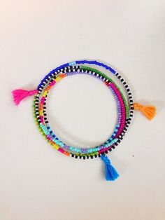 Bohemian Seed Bead Necklace with Tiny Tassels--
