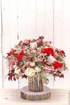 Купить Интерьерный букет №5 - коралловый, красный, букет для дома, композиция из цветов, композиция для интерьера
