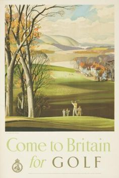 Rowland Hilder come to Britain for golf vintage travel poster