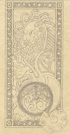 some sloppy knotwork doodles, my favourite is the fish in the rigth lower corner. mixing scandinavian, germanic and celtic styles + adding own elements . Zoomorphic knotwork doodle page Celtic Dragon, Celtic Art, Celtic Patterns, Celtic Designs, Celtic Images, Doodle Pages, Doodle Art, Calligraphy Art, Islamic Calligraphy