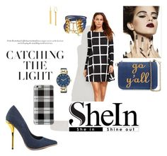 """""""Checked and denim"""" by agnesmakoni ❤ liked on Polyvore featuring Luichiny, Christian Dior, Draper James, Diane Von Furstenberg, Anne Klein and Agent 18"""