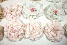 Shabby Chic Handmade Flowers - add to hair headband,lamp shades,purses, sweaters,  the  many possibilities . ...