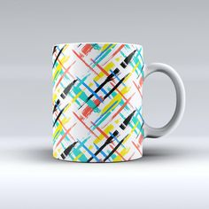 The Intersecting Vector Bright Strokes ink-Fuzed Ceramic Coffee Mug from DesignSkinz