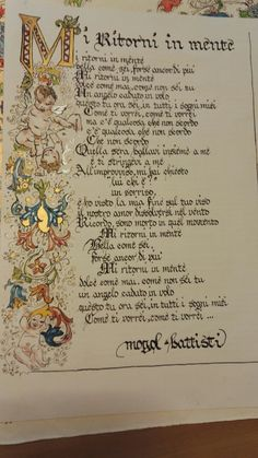 """Mi ritorni in mente"" song by Mogol/Battisti- Maria Clara's ink design"