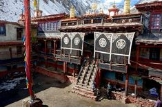 The courtyard of Rinchenling Gompa, a Tibetan Buddhist monastery in Nepal. .