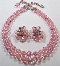 Laguna Pink Crystal Necklace Earrings Demi Parure from Vintage Lizzie on Ruby Lane