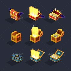 Download Free Graphicriver 	             Chest Set For Game Resource. Vector            #abundance #box #cartoon #chest #coins #collection #crate #currency #equipment #evil #full #gold #group #icon #light #lock #luck #mystery #objects #old #open #painting #pirate #safe #skull #success #treasure #vector #wealth #wood