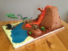 Sparkling Volcano Cake with dinosaurs – a Tutorial. Sparkling Volcano Cake with dinosaurs – a Tutorial. Dinosaur Birthday Cakes, 4th Birthday Cakes, Dinosaur Cake, Dinosaur Party, Boy Birthday, Diaroma Ideas, Volcano Cake, Dino Cake, Creations