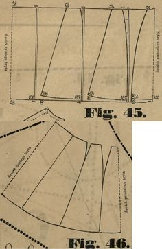 Tygodnik Mód 1871.: Foundation skirt for costumes; Fig. 45 patterns to the pieces, 46. shows how the pieces line up.