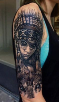 Tribal Art Tattoos, Chicano Art Tattoos, Wolf Tattoos, Animal Tattoos, Body Art Tattoos, Tattoo Girls, Girl Face Tattoo, Hand Tattoos For Guys, Native American Tattoos