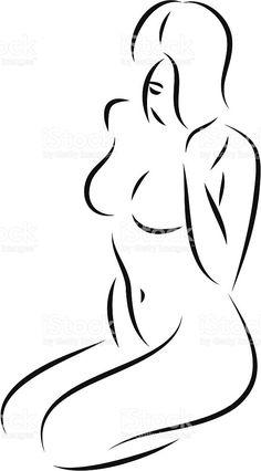 Kniend Frau 03 Lizenzfreies vektor illustration