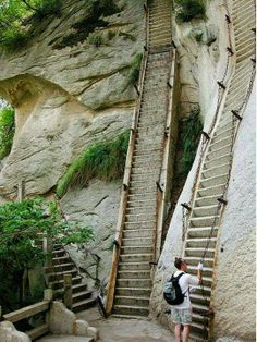 Mount Hua, China. For thousands of years Taoist monks have been walking up and down these vertiginous steps to get to and from their temples and shrines. - via Terra Nova Magazine's photo on Google+
