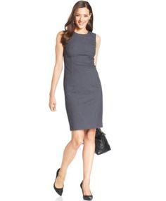 Jones New York Sleeveless Seamed Sheath Dress | macys.com - requires a tweed or black blazer