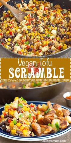 Easy Vegan Tofu Scramble for Breakfast or brunch. Best tofu scramble recipe, healthy tofu scramble recipe with Mexican flavors. Southwestern tofu scramble recipe using black beans, potato and corn healingtomato scramble 533324780869670563 Vegan Brunch Recipes, Vegetarian Recipes, Healthy Recipes, Recipes Dinner, Vegan Recipes Using Tofu, Vegan Tofu Recipes, Firm Tofu Recipes, Dessert Recipes, Scrambled Tofu Recipe