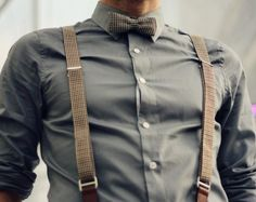 Tweed bow tie + chambray shirt + suspenders. Great vintage look for rustic barn-style weddings.