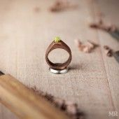 Wood and Moss Engagement Ring