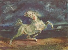 Horse Frightened by a Storm - Delacroix Eugene 1824