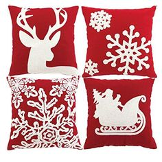 Sykting Embroidery Throw Pillow Case Christmas Pillow Cover set of 4 Pillow Cases Home Car Decorative *** For more information, visit image link. (This is an affiliate link) Christmas Cover, Christmas Pillow Covers, Merry Christmas, Nordic Christmas, White Christmas, Christmas Holiday, Vintage Christmas, Throw Pillow Cases, Cover Pillow